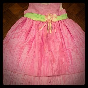 Double-layered ruched princess dress with flower